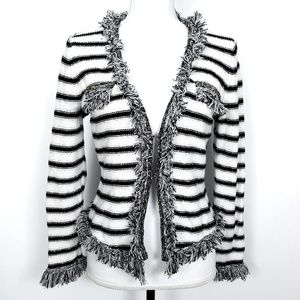 Cache Striped Fringe Sweater Jacket